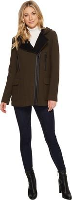 Calvin Klein Women's Wool Coat With Pu Trim