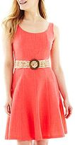 JCPenney 9 & Co.® Belted Fit-and-Flare Dress - Petite
