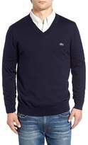 Lacoste Men's Cotton Jersey V-Neck Sweater