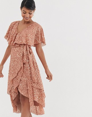 Asos Design DESIGN midi dress with cape back and dip hem in scatter sequin-Beige