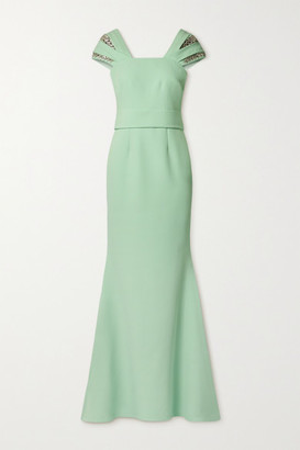 Safiyaa Abigail Crystal-embellished Crepe Gown - Mint