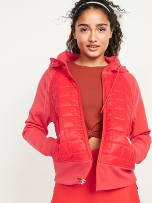 Old Navy Dynamic Fleece Quilted Hybrid Zip Hooded Jacket for Women