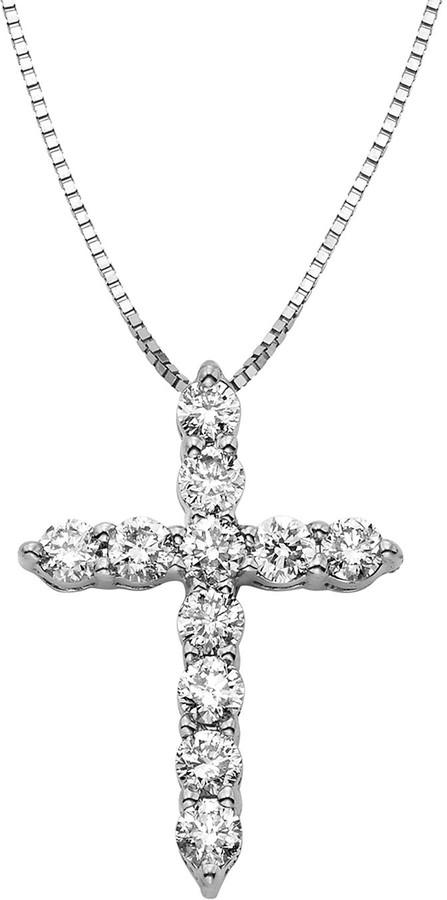 058ac9f0fd332 1/2 Carat T.W. IGL Certified Diamond 14k Gold Cross Pendant Necklace