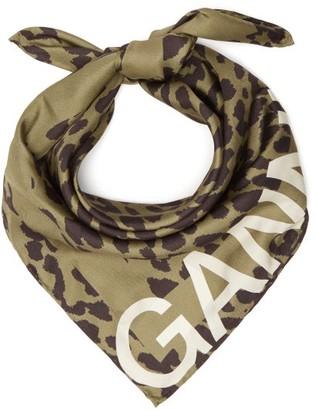 Ganni Leopard-print Satin-twill Scarf - Khaki
