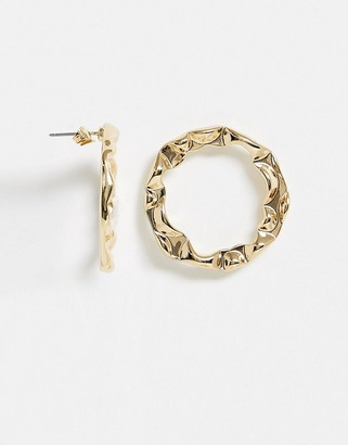 NY:LON hammered gold hoop earrings