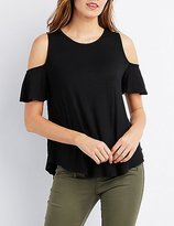 Charlotte Russe Cold Shoulder Swing Tee