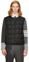 Thom Browne Black Down Wool Button Front Vest