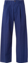 Issey Miyake Men - Wide-leg Cropped Striped Cotton Trousers