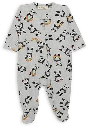 The Bonnie Mob Baby's Organic Cotton Panda Zip-Front Footie