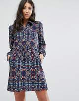 Lavand Printed Shirt Dress With Drawstring Waist