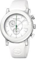 Gucci 44mm G-Chrono Ceramic Watch w/ Rubber Strap, White