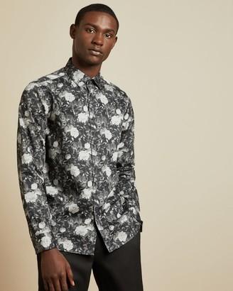 Ted Baker Monochrome Cotton Floral Shirt