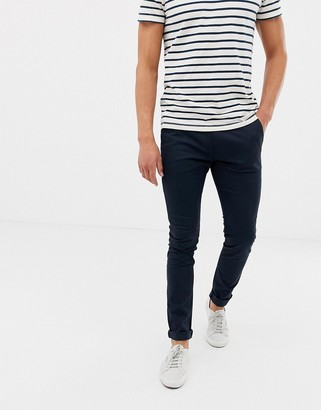 Farah Drake skinny fit chino twill trousers in navy