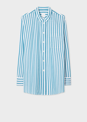Paul Smith Women's Relaxed-Fit Blue Wide-Stripe Shirt