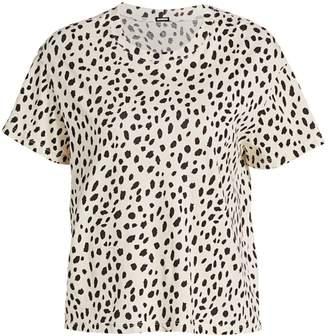 Monrow Cheetah Print Crew T-Shirt