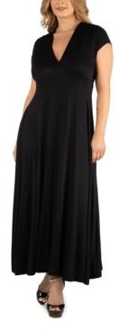 24Seven Comfort Apparel Empire Waist V-Neck Plus Size Maxi Dress