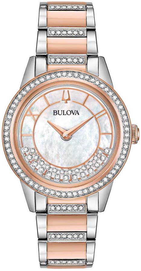 Bulova Women Dress Two-Tone Stainless Steel Bracelet Watch 32.5mm