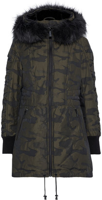 DKNY Shell-jacquard Hooded Down Coat