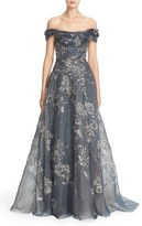 Marchesa Women's Embellished Off The Shoulder Silk Organza Gown