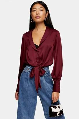 Topshop Womens Tall Burgundy Satin Knot Front Shirt - Burgundy