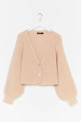 Nasty Gal Womens Keep Knit Chilled V-Neck Cropped Cardigan - Beige - M