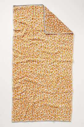 Anthropologie Lola Leopard Towel Collection By in Yellow Size BATH TOWEL