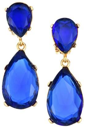 Kenneth Jay Lane Sapphire-Color Crystal Double-Teardrop Clip-On Earrings
