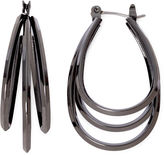 Liz Claiborne Gray Polished Steel Layer Hoop Earrings