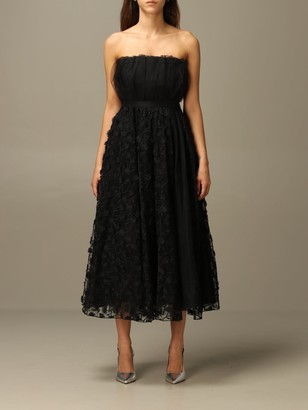 Pinko Jonny Long Decollette With Floral Skirt