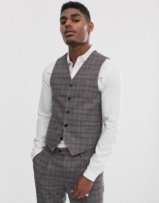 Devils Advocate skinny fit brown check suit suit vest