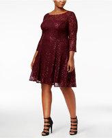SL Fashions Plus Size Sequined Lace A-Line Dress