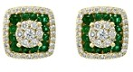 Bloomingdale's Emerald & Diamond Square Cluster Stud Earrings in 14K Yellow Gold - 100% Exclusive