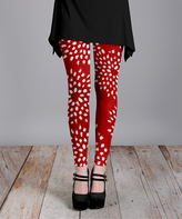 Lily Red & White Abstract Dot Slim-Fit Pants - Plus Too