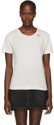 Saint Laurent White Skull and Heart T-Shirt