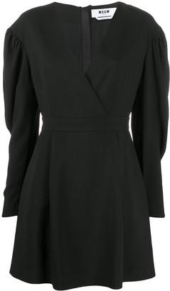 MSGM V-neck long-sleeve dress