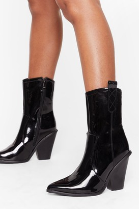 Nasty Gal Womens Got This on Vinyl Western High Ankle Boots - Black
