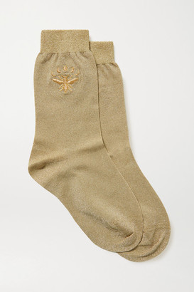 Maria La Rosa Embroidered Metallic Stretch-knit Socks - Gold