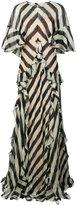 Alberta Ferretti ruffle trim printed dress