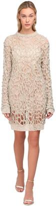 Yolancris Lace & Bead Mesh Mini Dress