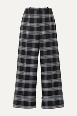 Michael Kors Cropped Checked Wool-blend Straight-leg Pants - Dark gray