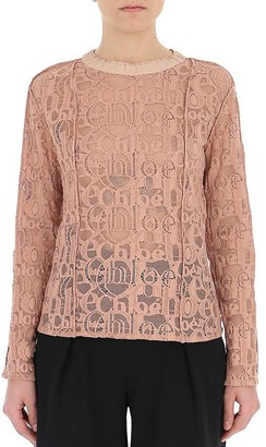 Chloé Lace Logo Embroidered Blouse