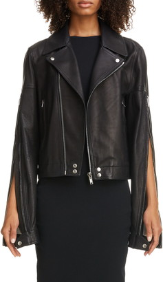 Rick Owens Zip Sleeve Leather Moto Jacket