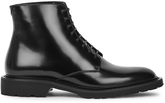 Saint Laurent Army Black Glossed Leather Ankle Boots