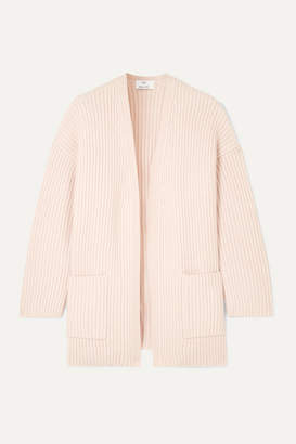 Allude Oversized Ribbed Cashmere Cardigan - Pastel pink