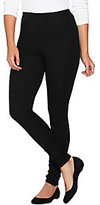 As Is Women with Control Petite Knit Leggings w/Faux Leather Snaps
