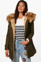 boohoo Francesca Boutique Faux Fur Trim Hood Parka