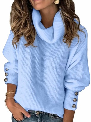 Sexy Dance Women's Chunky Jumper Turtleneck Cable Knit Sweater Pullover Winter Warm Tops M White