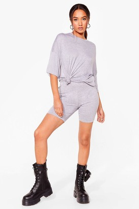 Nasty Gal Womens My Cup Of Oversized Tee and Biker Shorts Petite Set - Grey