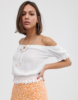 Bershka shirred detail blouse in white