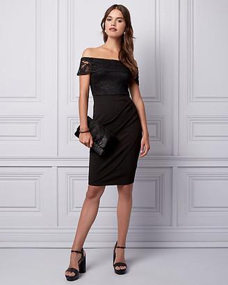 Le Château Lace & Knit Crepe Off-the-Shoulder Dress